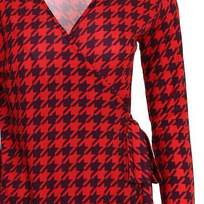 unique pattern wrap dress red